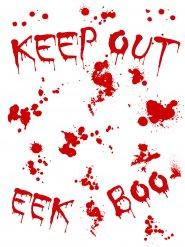 Blutiger Aufkleber 25x70cm Keep out Halloween