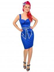 Rockabilly 50er-Jahre-Kleid im Matrosenlook blau
