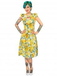 Hearts and Roses Rockabilly 50er-Jahre-Kleid mit Blumenprint gelb