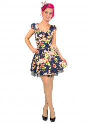 Rockabilly 50er-Jahre-Kleid kurz mit Blumenprint blau-bunt