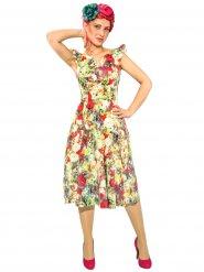 Rockabilly 50er-Jahre-Kleid mit Blumenprint bunt