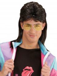 Vokuhila-Perücke und Brille 80er-Jahre Zubehör schwarz-gelb