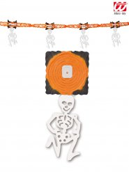 Skelett-Girlande Partydekoration orange-weiss 300x31cm