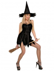 Zauberhaftes Hexenkostüm für Damen Halloween schwarz