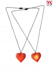 Halskette leuchtendes rotes Herz