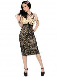 50er-Jahre-Kleid Bleistiftkleid mit Spitze beige-schwarz