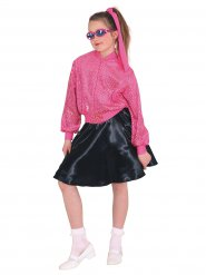 50er-Jahre Rockabilly-Jacke für Kinder mit Pailletten pink