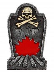 Grabstein mit Flammen und Skelett Partydeko für Halloween grau-rot 34x56cm