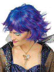 Kurze blaue-lilane Perücke Damen