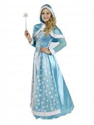 Schneekönigin Damenkostüm blau-weiss