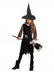 Hübsches Hexenkostüm für Kinder Halloween schwarz-silber