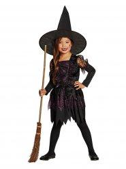 Lustiges Hexenkostüm für Mädchen Halloween schwarz-pink