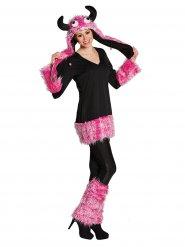 Lustiges Monster-Kostüm für Damen Pink-schwarz