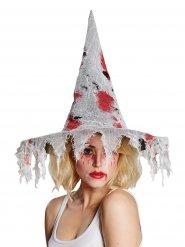 Hexenhut mit Blutflecken Halloween-Kostümzubehör grau-rot