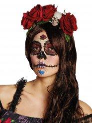 Halloween-Haarreif - im Gothic Stil - rot/grün/weiss