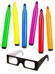 Lustiges 3D-Set mit 3D-Brille 7-teilig Partyzubehör bunt