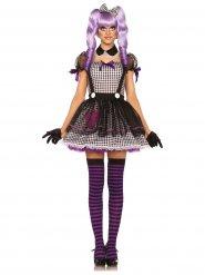 Bezaubernde Puppe Damenkostüm lila-schwarz-weiss