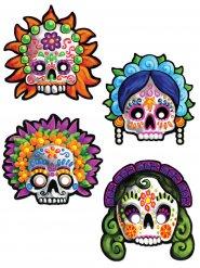 4-teiliges Masken-Set Tag der Toten 30 cm