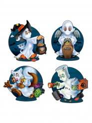 Halloween Geister-Figuren Party-Deko Set 4 Stück bunt 40cm