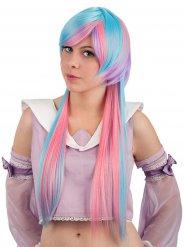 Manga-Cosplay Perücke Extralang mit Pony pastellfarben