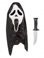 Scream-Set mit Maske und Messer für Halloween