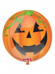 Folien-Ballon Kürbis Halloween-Deko orange-grün-schwarz 38cm