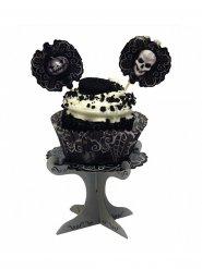 Cupcake-Servierauflage Halloween Tischzubehör grau-schwarz
