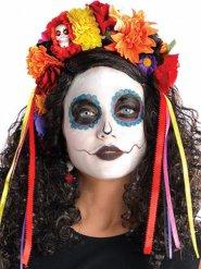 Tag der Toten Haarreif mit Blumen bunt