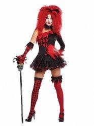 Sexy Harlekin-Damenkostüm schwarz-rot