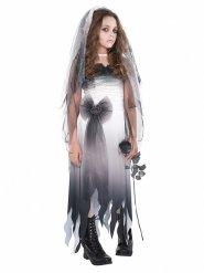 Gothic-Braut Halloween-Kostüm für Mädchen grau-schwarz-weiss