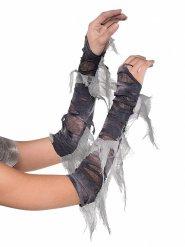 Zombiehafte Gothic-Handschuhe Armstulpen schwarz-grau