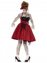 50er-Jahre Rockabilly-Zombie Damenkostüm schwarz-rot