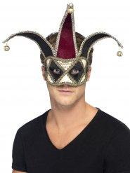 Venezianische Maske schwarzer Harlekin Clown Erwachsene