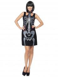 Röntgenbild-Skelett Damenkostüm für Halloween schwarz-grau