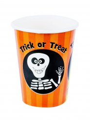 Süße Trick or treat-Pappbecher Skelett Halloween 8 Stück orange-schwarz 230ml