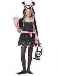 Bezauberndes Hasen-Skelettkostüm für Kinder Halloween schwarz-rosa