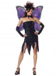 Dunkles Feen-Kostüm für Damen Halloween schwarz