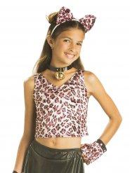 Leoparden-Top für Kinder Kostümzubehör pink-schwarz