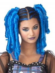 Manga Locken-Haarteile 2 Stück blau