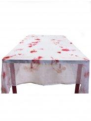 Blutverschmierte Halloween-Tischdecke weiss-rot 150x180cm