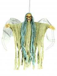 Schauriger Todesengel Halloween-Deko animiert mit Leuchtaugen beige-hellgrün 35cm