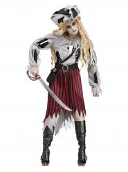 Geister-Piratin Damenkostüm Halloween Zombie grau-rot