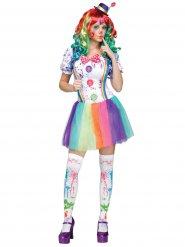 Regenbogen Clown Damen-Kostüm