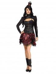 Verführerisches Steampunk Damenkostüm schwarz-rot