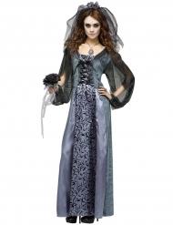 Düstere Braut Halloween-Damenkostüm grau-schwarz