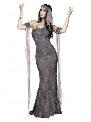 Mumie-Damenkostüm für Halloween grau