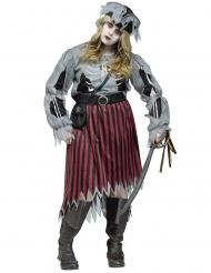 Geister-Zombie Piratin Plus Size Damenkostüm Halloween grau-rot