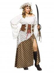 Königliche-Piratenbraut Damenkostüm Übergröße braun-weiss