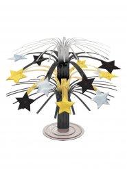Tischdeko mit Sternen aus Gold Silber und Schwarz 19 cm