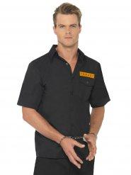 Sträflings-Hemd Verkleidung für Herren Gefangener schwarz